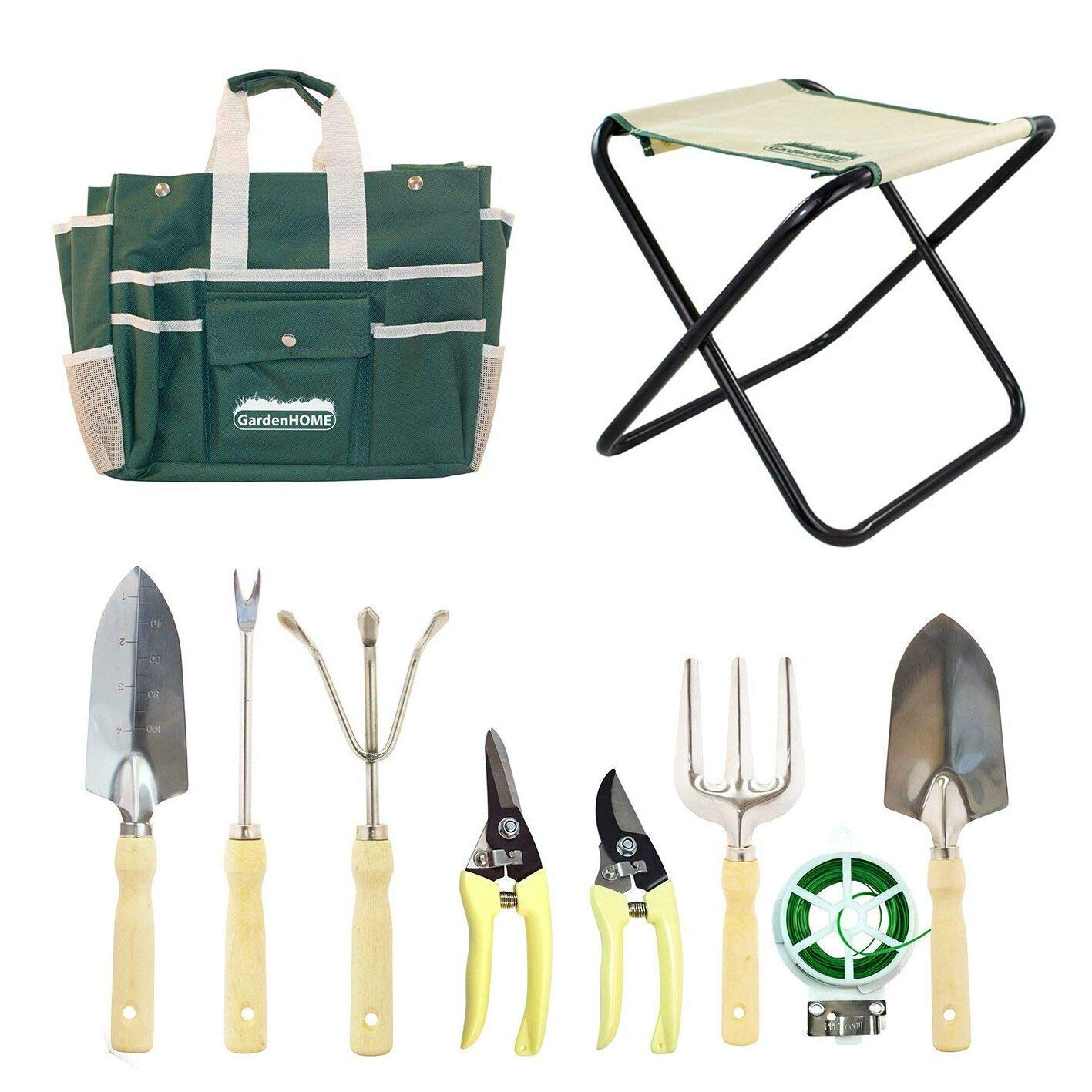 Garden Tool Set 10 Piece with Folding Stool, Storage Bag, 5 Heavy Duty Stainless Steel Garden Tools, 2 Pruners and 1 Roll of 100 ft