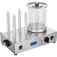 Royal Catering Machine à Hot Dog Professionnelle Appareil Hot Dog RCHW 2300 (Puissance 2 x 300 Watts, Température 0-95°C, Taille du cylindre 24 cm, Diamètre du cylindre 20 cm, 4 Fentes à toast)