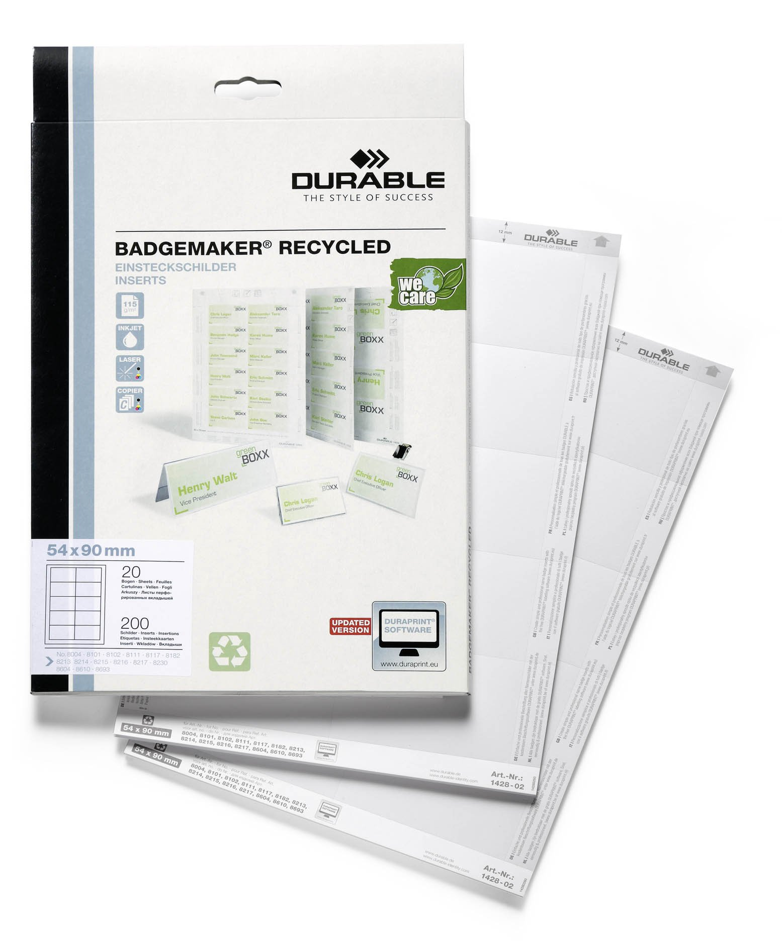 Durable 142802 Badgemaker Recycled Inserts 54 x 90 mm Pack of 200 White by Durable