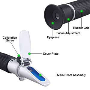 Brix Refractometer with ATC - Tiaoyeer Digital Handheld Refractometer for Beer Wine Fruit Sugar, Dual Scale-Specific Gravity 1.000-1.130 and Brix 0-32