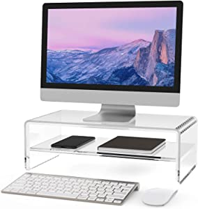 MaxGear 2-Tier Acrylic Monitor Stand,Computer Monitor Stands Riser for Home Office Business with Sturdy Platform,PC Desk Stand for Keyboard Storage & Multi-Media Laptop Printer, 1 Pack
