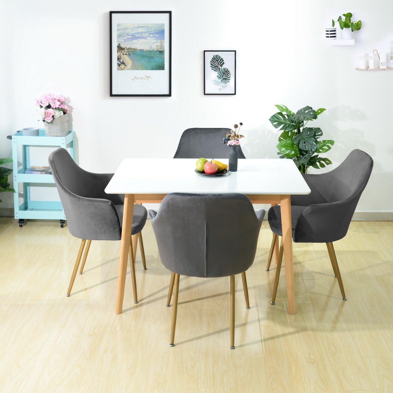 Grigio EGGREE Sedie da Pranzo Moderno Sedia Velluto Poltroncina Cucina con Gambe in Metallo Solide e Sedile Imbottito
