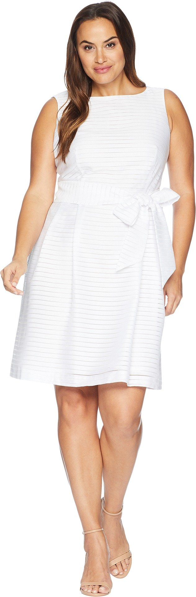 Anne Klein Women's Plus Size Solid Shadow Stripe Fit and Flare Dress, White, 22W