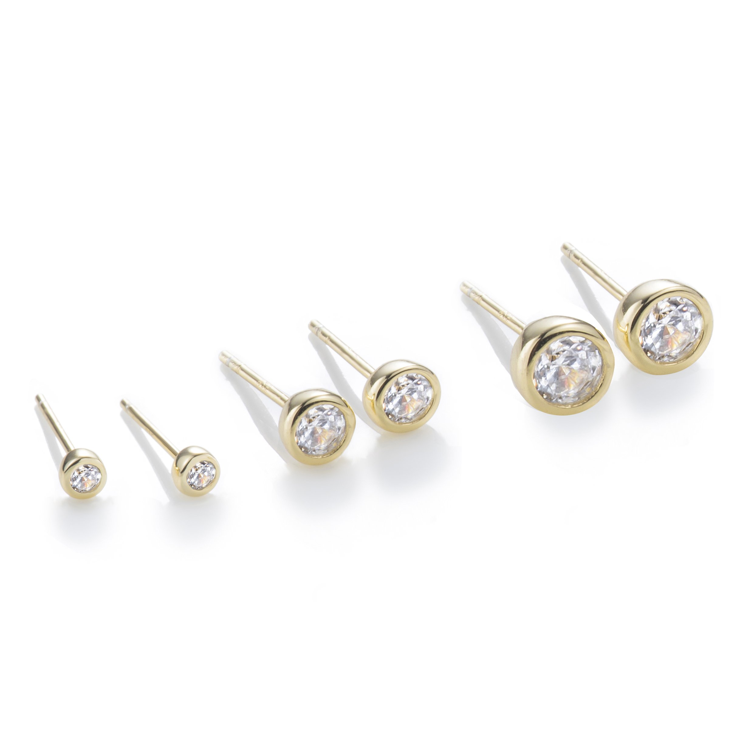 S.Leaf 3 Pairs Cubic Zirconia Stud Earrings Sterling Silver 14K Gold Plated Delicate Earrings
