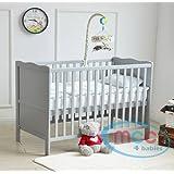 "MCC Grey Wooden Baby Cot Bed ""Orlando"" Toddler Bed Premier Water repellent Mattress"