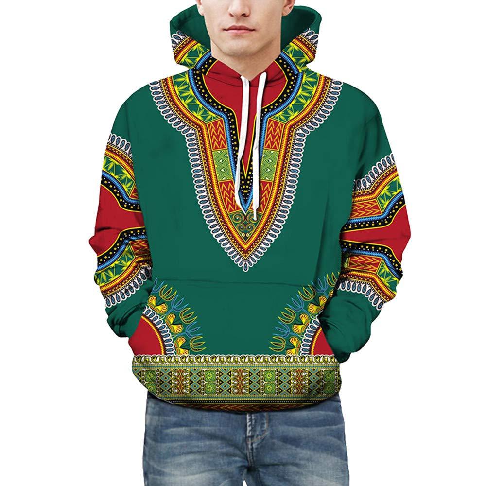Yazidan Liebhaber Herbst Winter Afrikanisch 3D-Druck Lange äRmel Hoodies Sweatshirt Oben MäNner BeiläUfig Fahren Taschen Mantel Oberteile Lose Modus Weihnachten Paare Bluse Hemden(Blau, 3XL) China