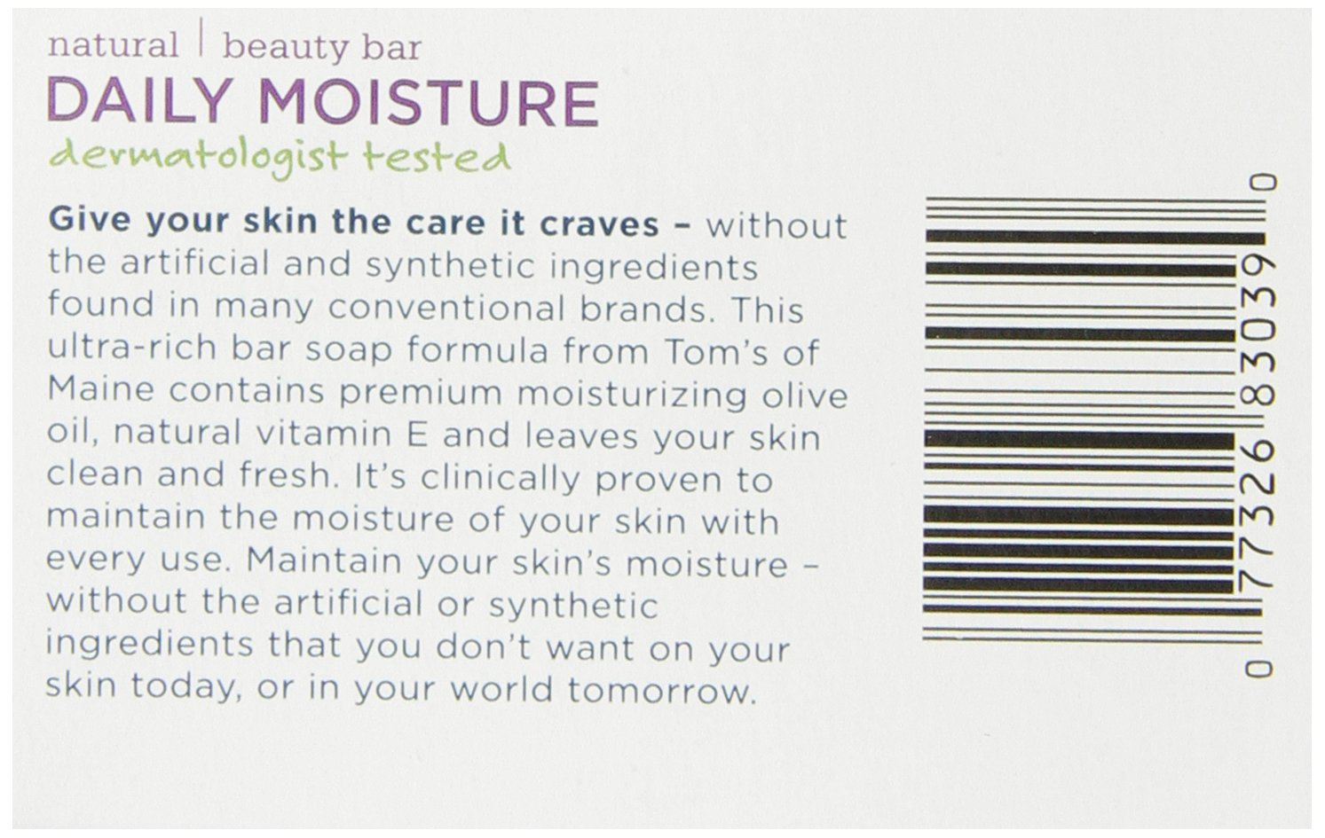 Tom's of Maine Moisturizing Bar Daily, 4-Ounce Bar, Pack of 6 by Tom's of Maine (Image #8)