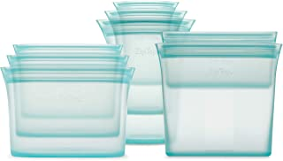 product image for Zip Top Reusable 100% Silicone Food Storage Bags and Containers - Full Set- 3 Cups, 3 Dishes & 2 Bags - Teal