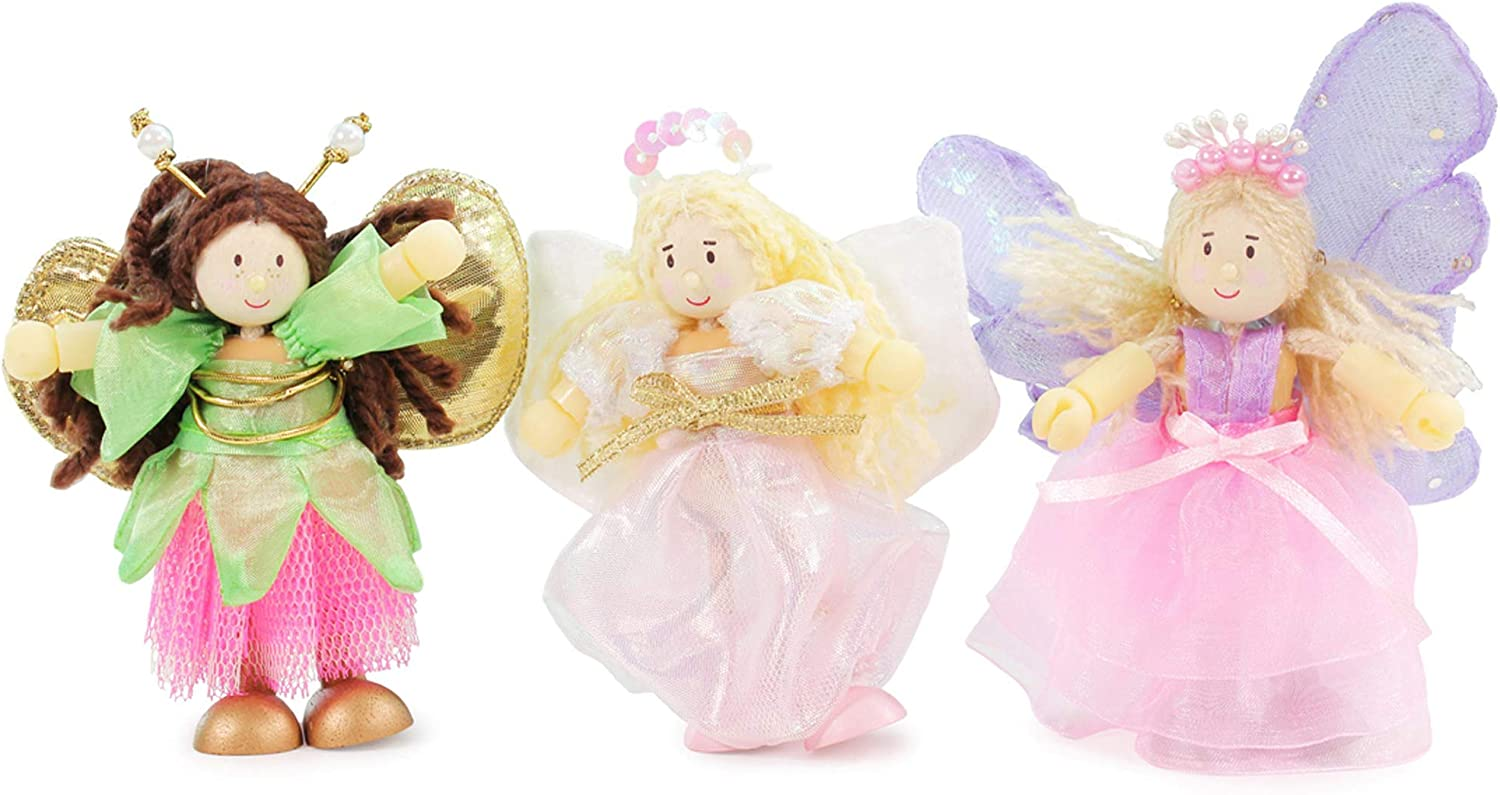 Le Toy Van Budkins Set of 3 Truth Fairy Posable Figures Premium Wooden Toys for Kids Ages 3 years & Up (BK908)