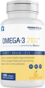 Oceanblue Omega-3 2100 – 120 ct – Triple Strength Burpless Fish Oil Supplement with High-Potency EPA and DHA – Wild-Caught – Orange Flavor (60 Servings)