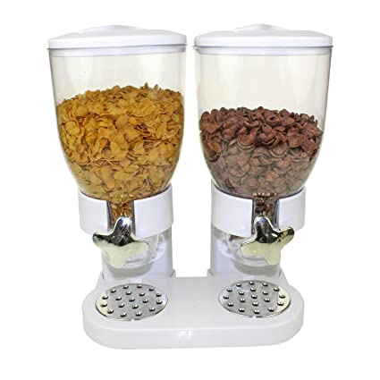 Doble de dispensador para cereales, Corn Flakes y cereales en color blanco