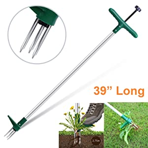 "Ohuhu Stand-Up Weeder and Root Removal Tool with 3 Stainless Steel Claws, 39"" Long Reinforced Aluminum Alloy Pole Manual Ruderal Remover Weed Puller Hand Tool with High Strength Foot Pedal"