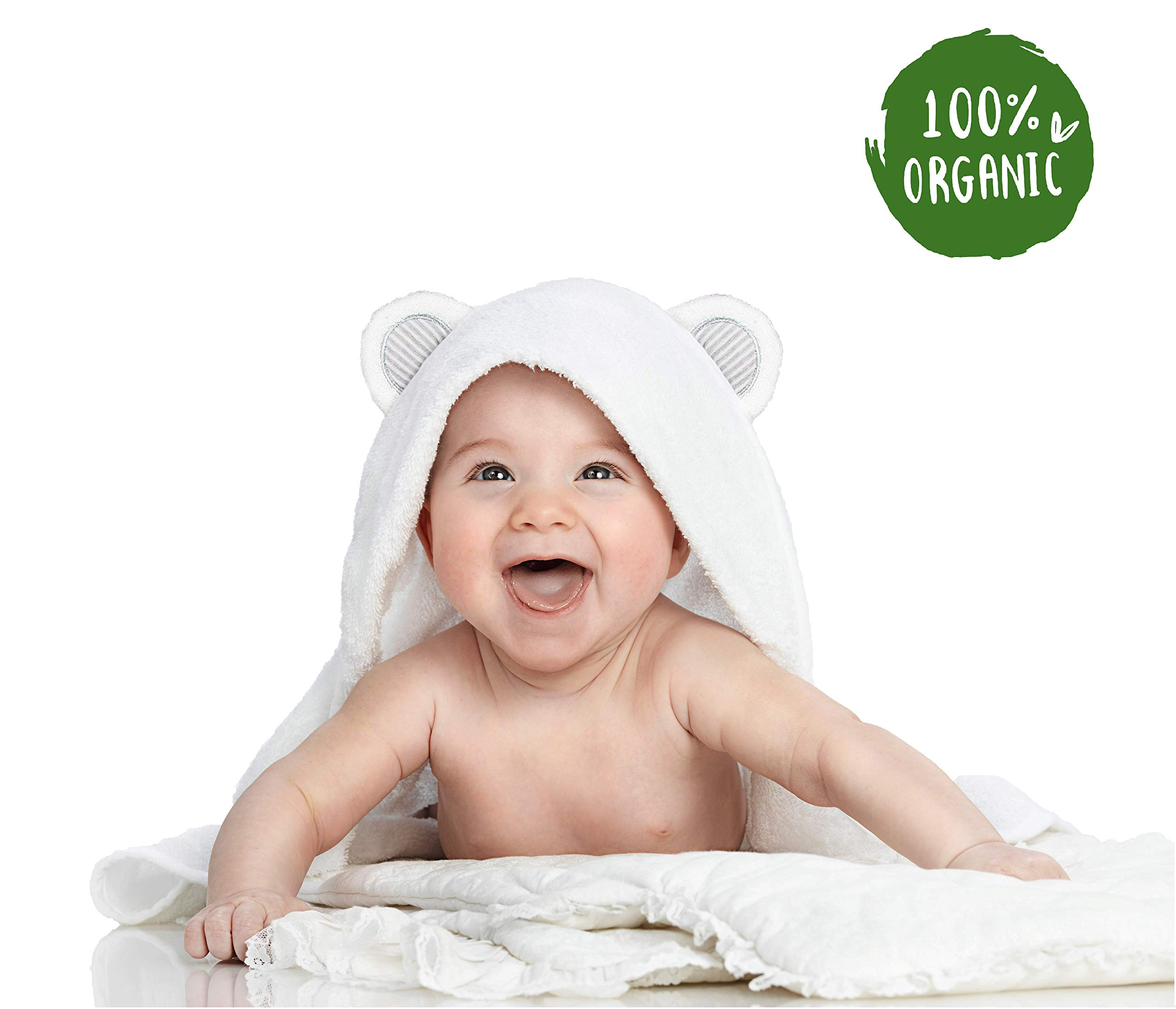 Baby Bath Towel | Organic Bamboo Towel and Washcloth Set | Hypoallergenic | Hooded Baby Towel Set for Boys and Girls | Unisex by Parenting & Children London