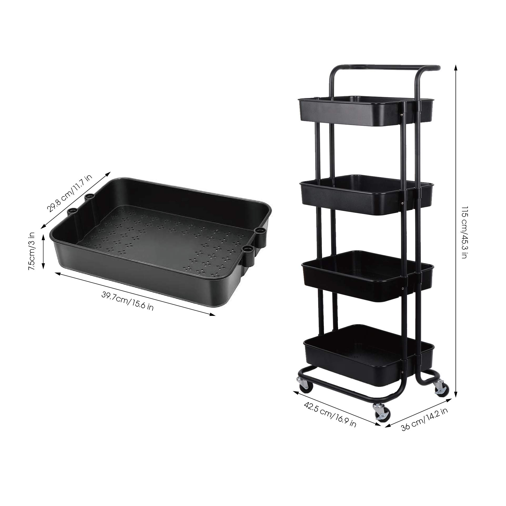DTK 4 Tier Utility Rolling Cart with Wheels, Storage Kitchen Organizer Craft Cart with Shelves, Trolley Mobile Cart for Office, Kitchen, Bathroom (Black) Frank