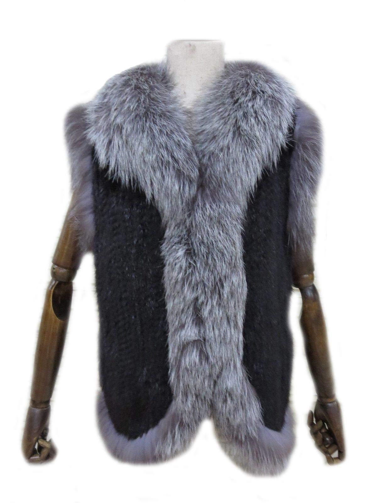 Women's Elegant Real Mink Fur Vest With Sliver Fox Fur Collar (Mink Fur + Sliver Fox Fur Vest) by DTDYG18 (Image #2)