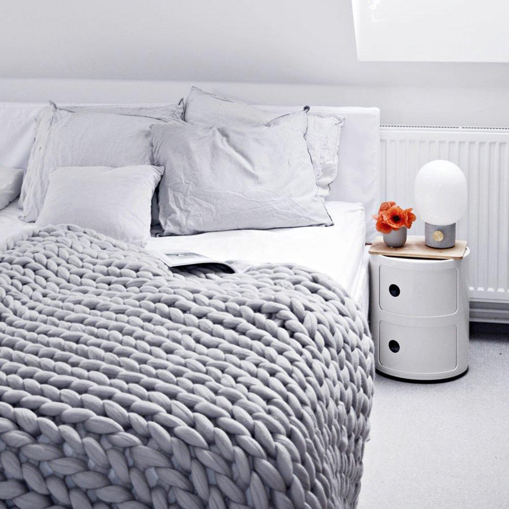 Here&There Rain Queen Decke Handgefertigt Riese Klobig Sticken Werfen Sofa Decke Handgewebt Sperrig Decke Zuhause Dekor Geschenk (120  150CM, Grau)