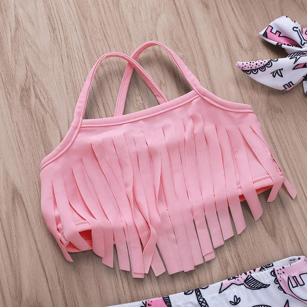 Girls Sleeveless Swimwear Fartido Summer Fashion Sunsuit Dinosaur Print Tassel Sling Swimsuit Set