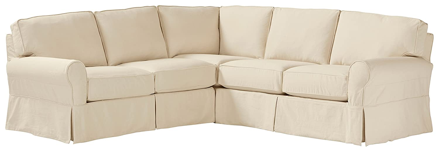 "Stone & Beam Carrigan Modern Sectional Sofa Couch with Slipcover, 103""W, Natural"