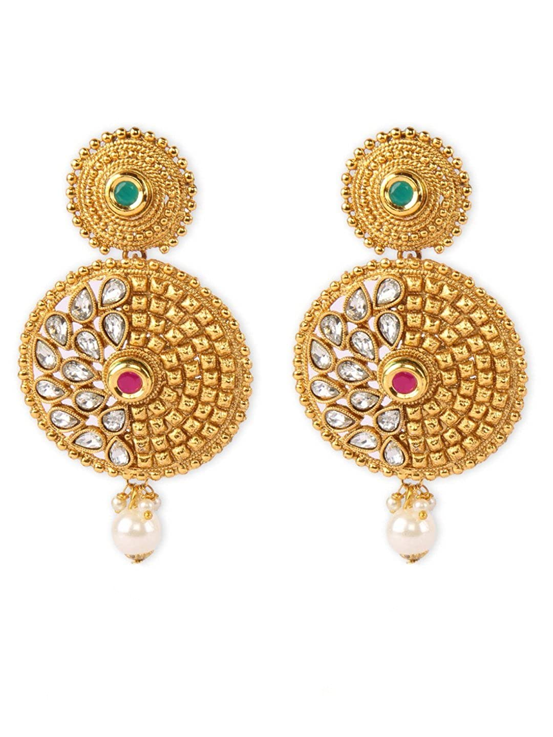 Crunchy Fashion Bollywood Style Stylish Traditional Indian Jewelry Drop Earrings for Women /& Girls