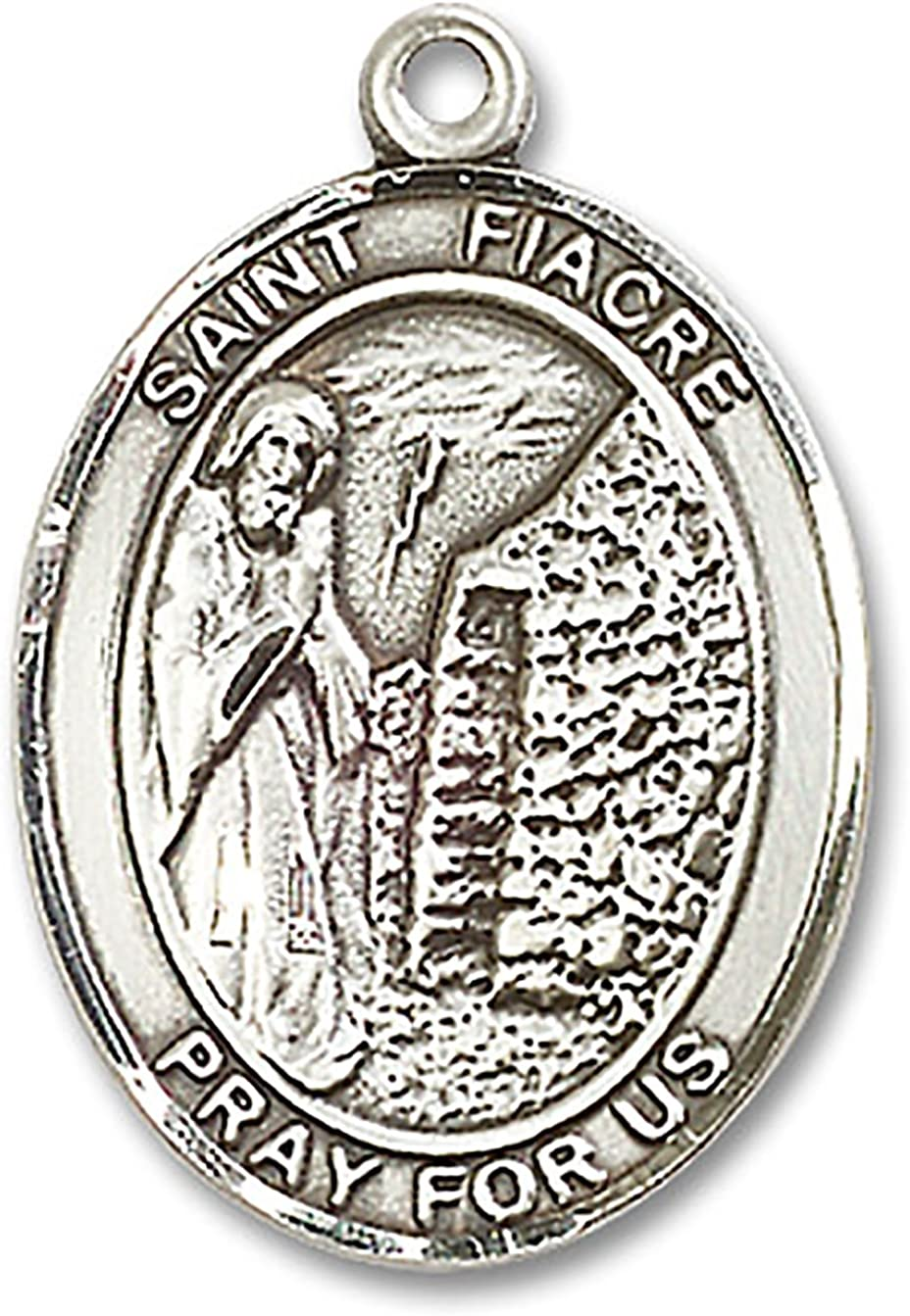 Customize Choose Chain Heartland Engravable Mens Sterling Silver Saint Fiacre Oval Medal