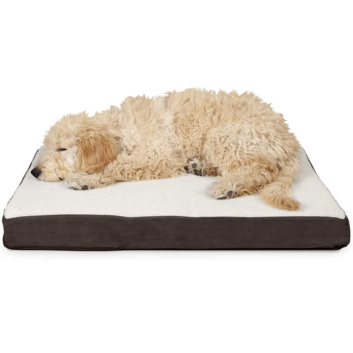 FurHaven Pet Dog Bed   Deluxe Orthopedic Sherpa & Suede Pet Bed Mattress for Dogs & Cats, Espresso, Medium