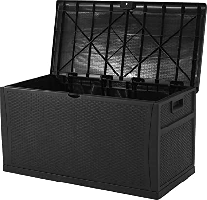 patiomore 120 gallon resin wicker patio storage box outdoor storage container deck box and gar black