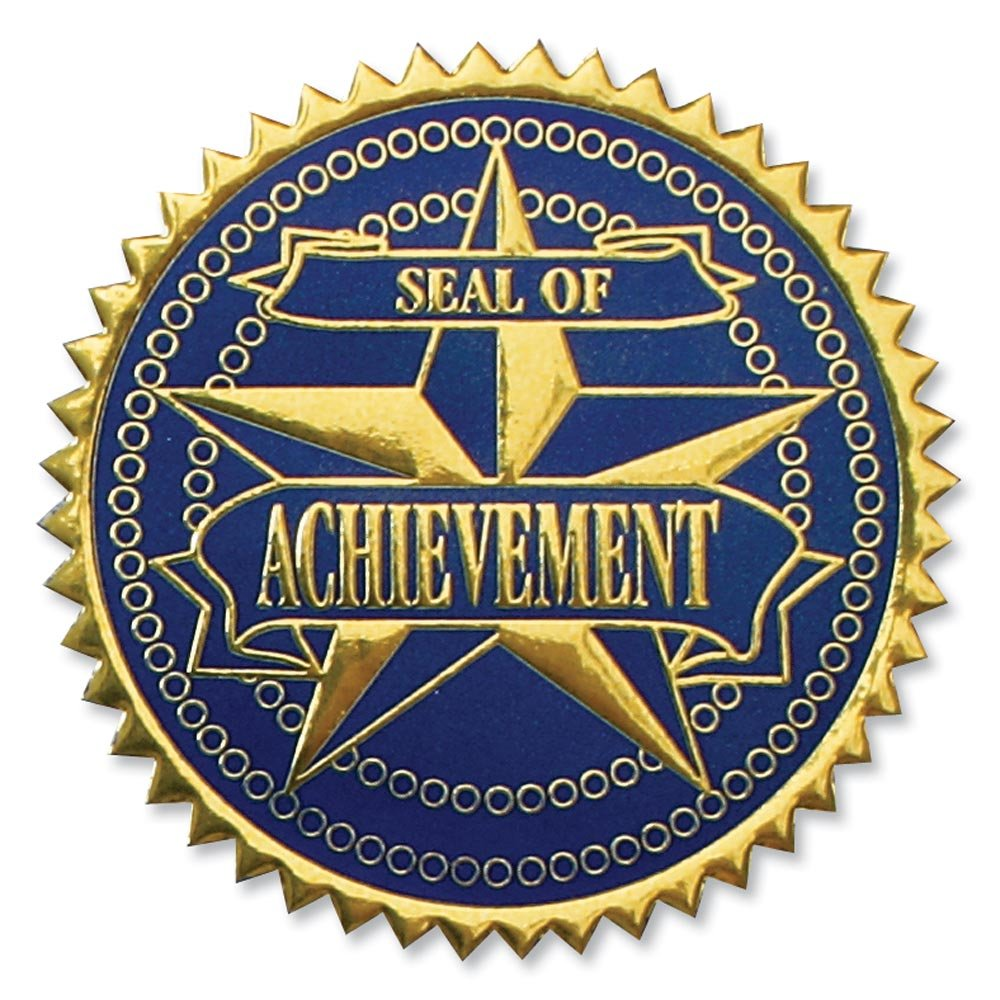 Deluxe Embossed Achievement Gold/Blue Foil Certificate Seals, 2 Inch, Self Adhesive, 102 Count