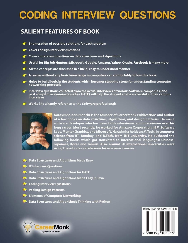 Coding Interview Questions: Narasimha Karumanchi: 9788192107516