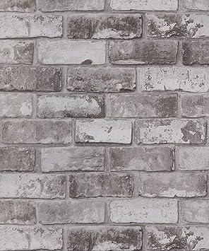 Debona Brick Pattern Wallpaper Modern Metallic Motif Faux Effect Realistic Taupe 6752
