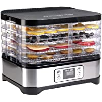 Micho Smart Food Dehydrator with 5 Drying Trays, Electric Multi-Tier Fruit Vegetable Dryer, Adjustable Digital Temperature Settings, BPA Free Food Safe Plastic Material