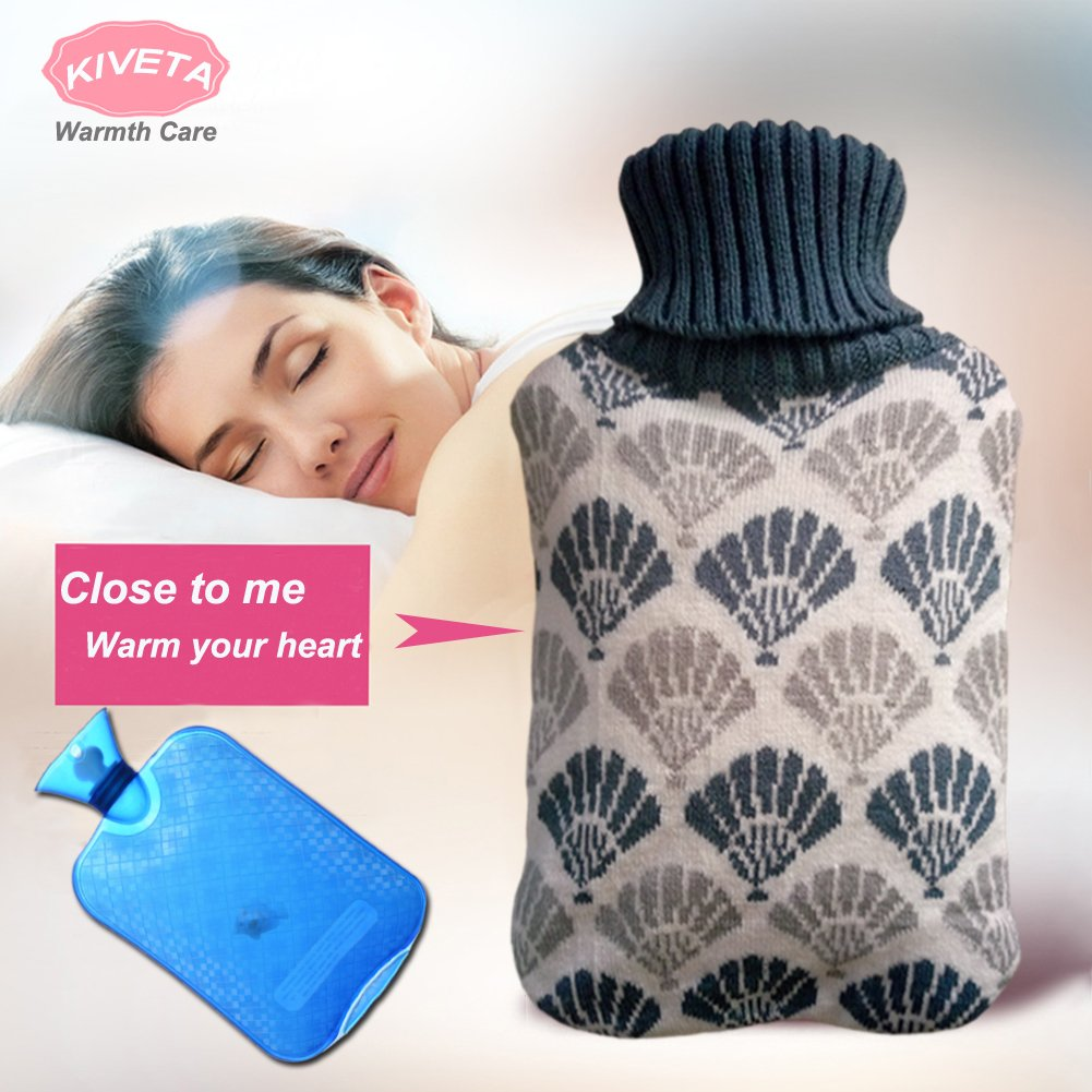 Hot Water Bottle Hot Water Bag with Knit Cover 2L Thicked PVC Retains Heat for 6 Hours Winter Warm Relaxing Heat Cold Therapy