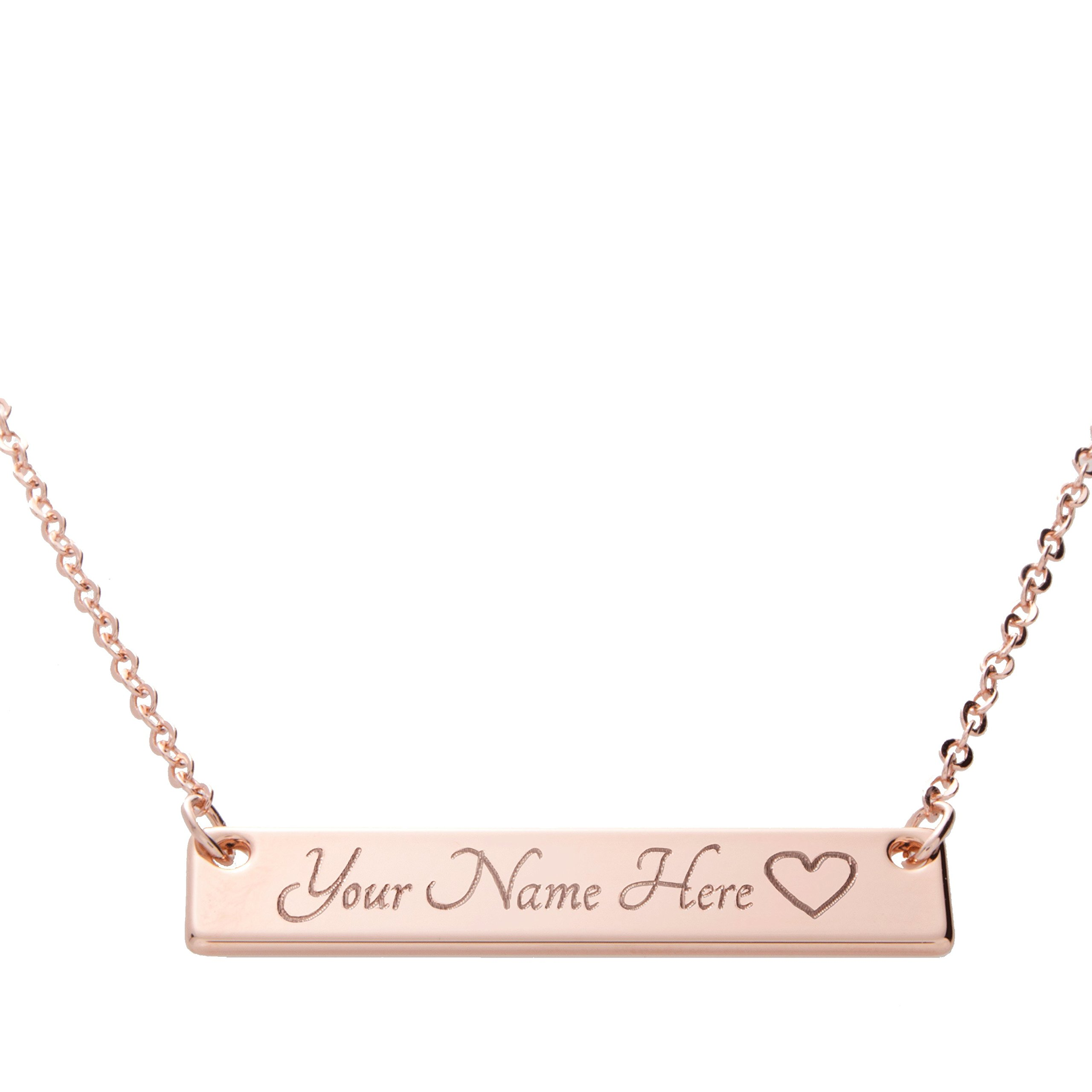 i1it SAME DAY SHIPPING GIFT TIL 2PM CDT Customizable Your Name Bar Necklace Same Day Shipping Gift 16k Rose Gold -Plated Name Bar Necklace Machine Engraving Mothers day bridesmaid wedding
