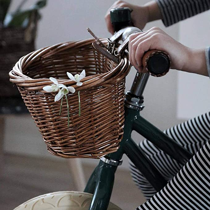 Adjustable Strap Vintage Wicker Cycle Shopping Hand Knitted Storage Bike Basket