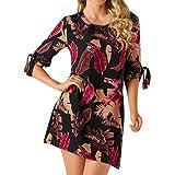 7a630d0b936 Women Summer Dresses DIKEWANG Sexy Ladies Trendy Bohemian Print Bowknot  Sleeves Cocktail Mini Dress Casual Beach…