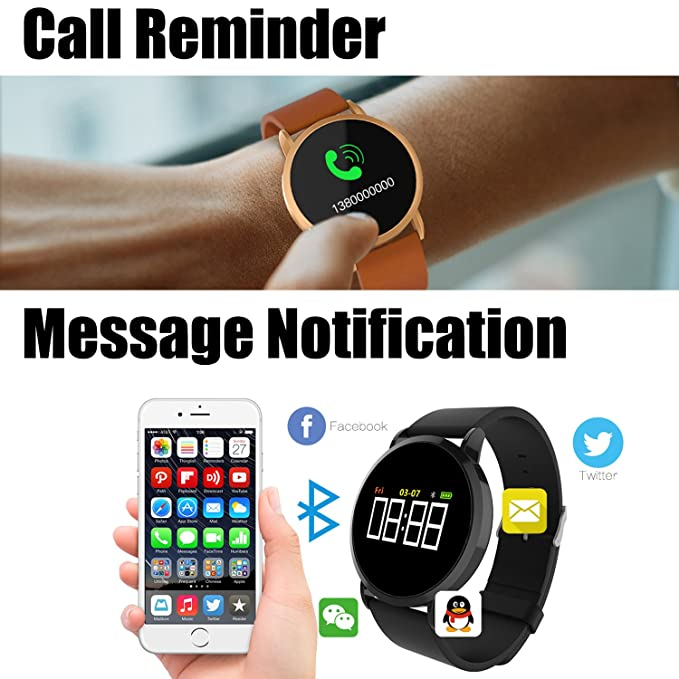 Fitness Tracker Watch, Collasaro Cpro Bluetooth Sports Fitness Watch Waterproof with Heart Rate and Blood Pressure Monitor, Pedometer, Smart Watch for ...