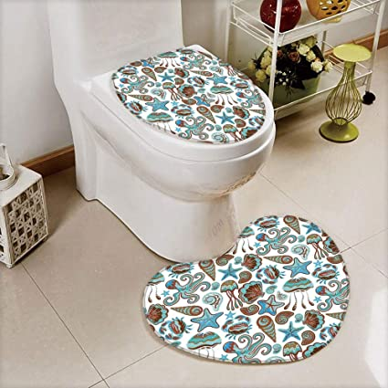 Miraculous Amazon Com Iprint 2 Pcs Toilet Cover Set Non Slip Mat Lamtechconsult Wood Chair Design Ideas Lamtechconsultcom