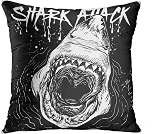 Qryipd Throw Pillow Cover Handdrawn Great White Shark Attack Comfortable Living Room Print Sofa Bedroom Polyester Hidden Zipper Pillowcase Cushion Cover 16x16 Inch