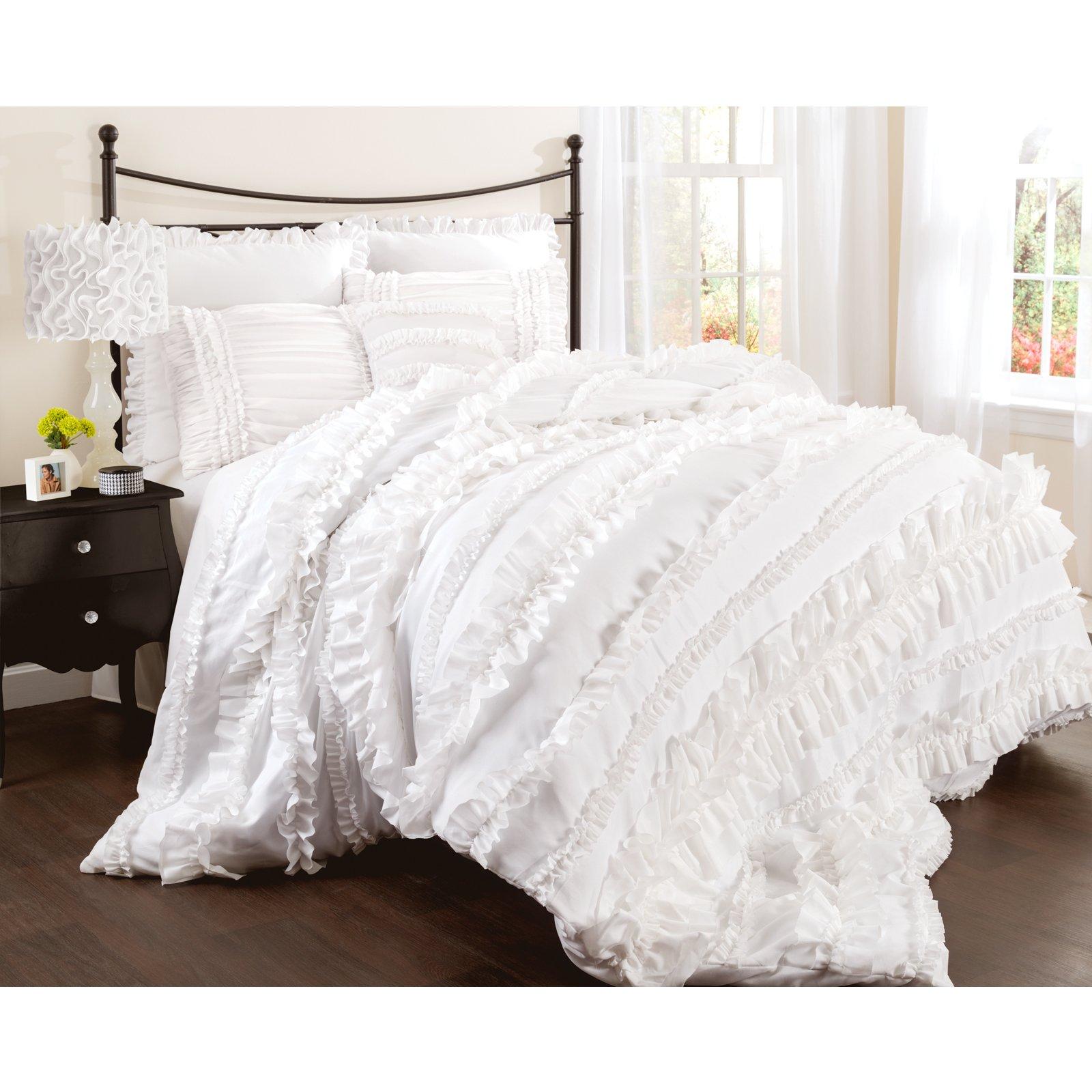 Lush Decor Belle 4 Piece Comforter Set, Queen, White