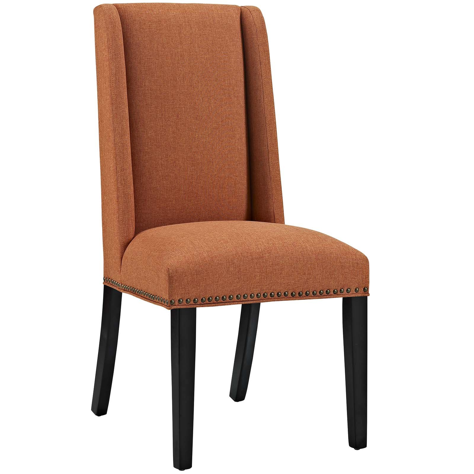 Modway Baron Upholstered Fabric Modern Tall Back Dining Parsons Chair With Nailhead Trim And Wood Legs In Orange