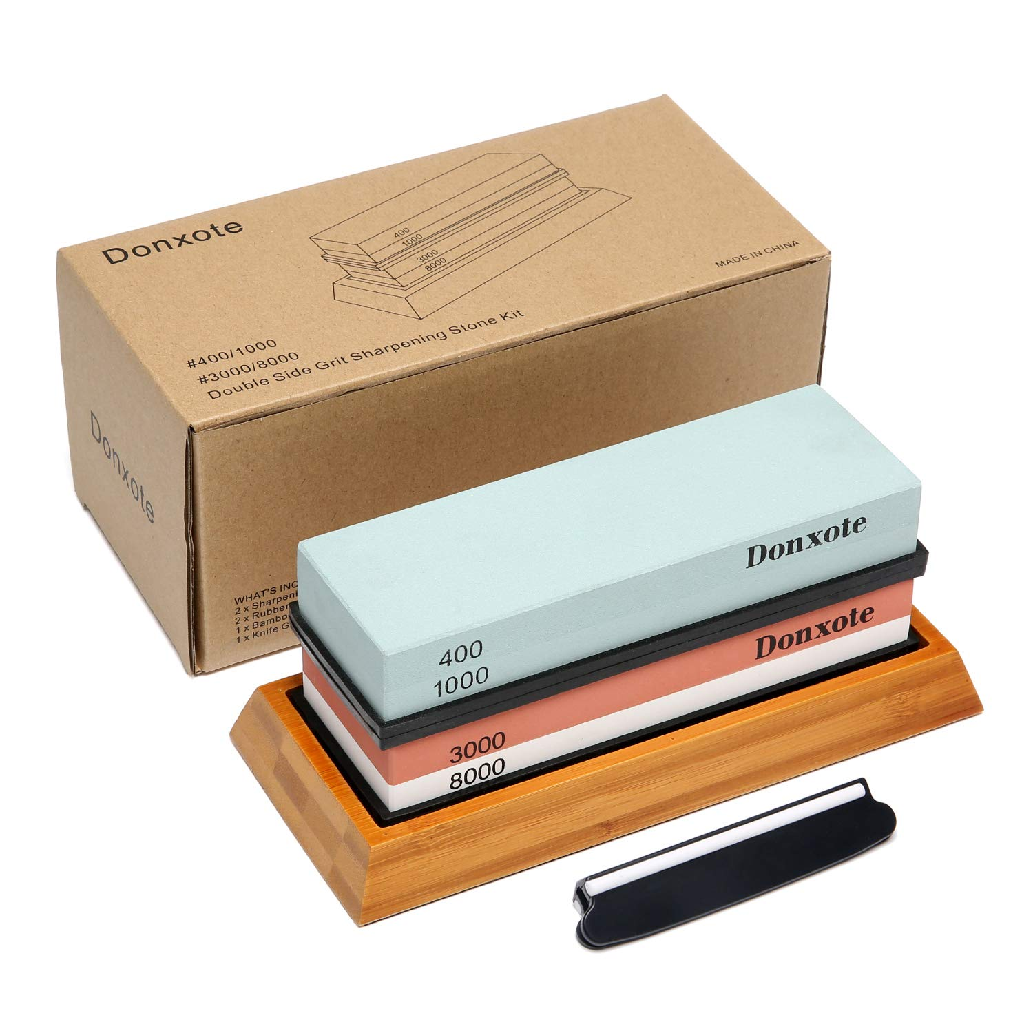 Donxote Knife Sharpening Stone, 400/1000 3000/8000 Double Side Grit Waterstone, Professional Chef Whetstone Sharpener, NonSlip Bamboo Base & Angle Guide by Donxote