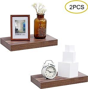 WELLAND Walnut 16 inch Wood Modern Display Shelves, Floating Shelves for Wall, Bathroom Wall Mount Shelves, Book Shelves,for Bedroom,Living Room and Kitchen,Set of 2