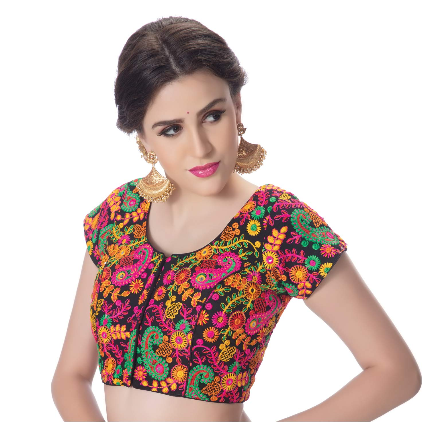 98f9823a4c8a3 rinkoo womens cotton designer kutchi hand embroidered mirror work black  princess cut padded short sleeves readymade