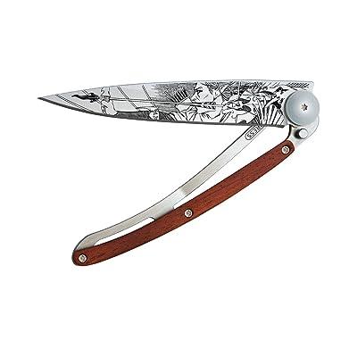 Couteau de poche pliant ultra léger avec clip ceinture - Version Bois de Rose 37g - Lame fine et tranchante - Motif Elfe - En acier inoxydable - Design élégant et moderne
