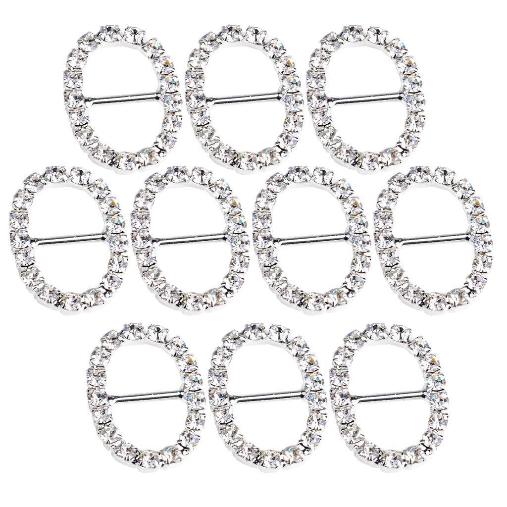 F Fityle 10 Pieces 20mm Diamante Crystal Rhinestone Oval Shaped Buckle Wedding Party Invitation Ribbon Slider