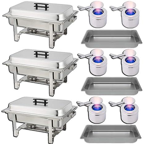 amazon com chafing dish buffet set water pan food pan 8 qt rh amazon com