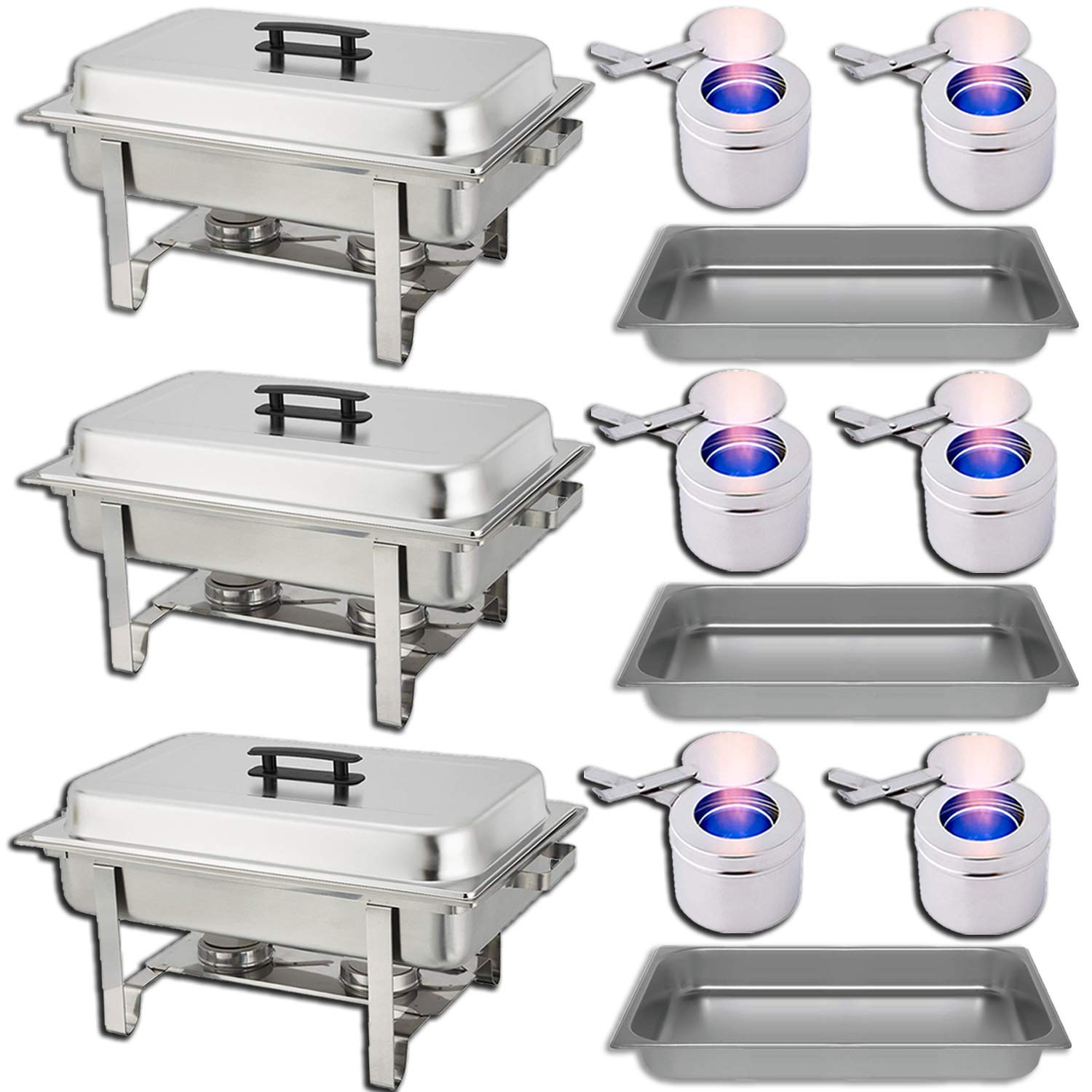 Chafing Dish Buffet Set - Water Pan + Food Pan (8 qt) + Frame + 2 Fuel Holders - Stainless-Steel Warmer Kit 3 Pack