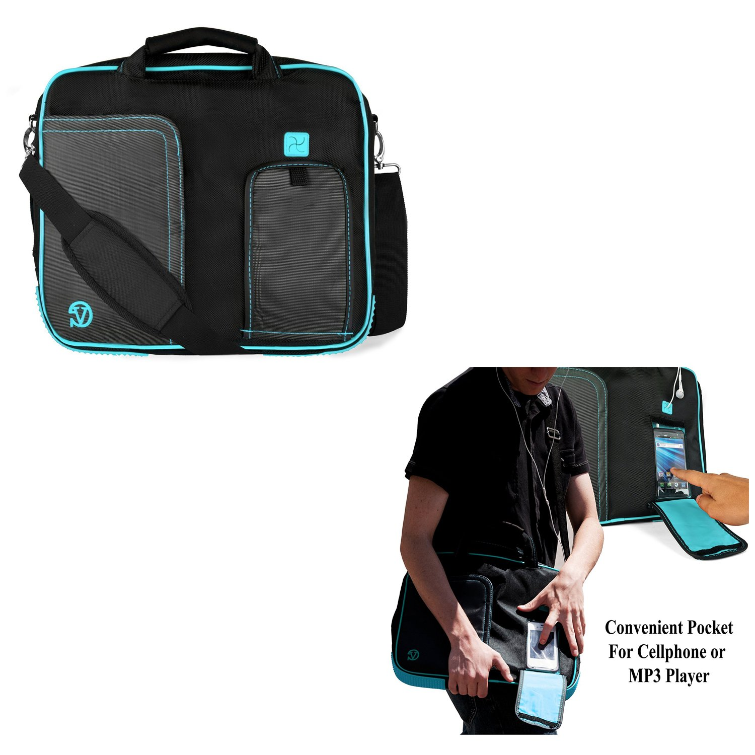 Universal Laptop Bag Messenger Bag Tablet Sleeve Pouch Briefcase 10.1'' to 12'' for Acer Aspire/Chromebook/One 10/Apple MacBook 12/Asus Transformer Book Flip/ZenBook 3/E (Black/Aqua)