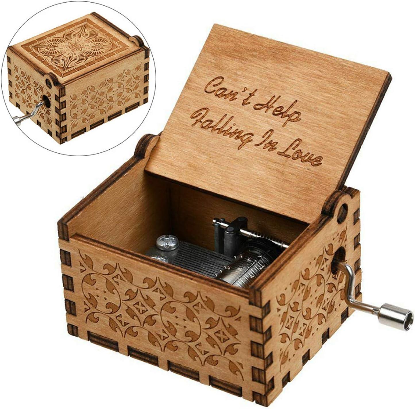 Huntmic Cant Help Falling in Love Bo/îte /à musique en bois avec gravure antique bo/îte /à musique pour cadeau danniversaire
