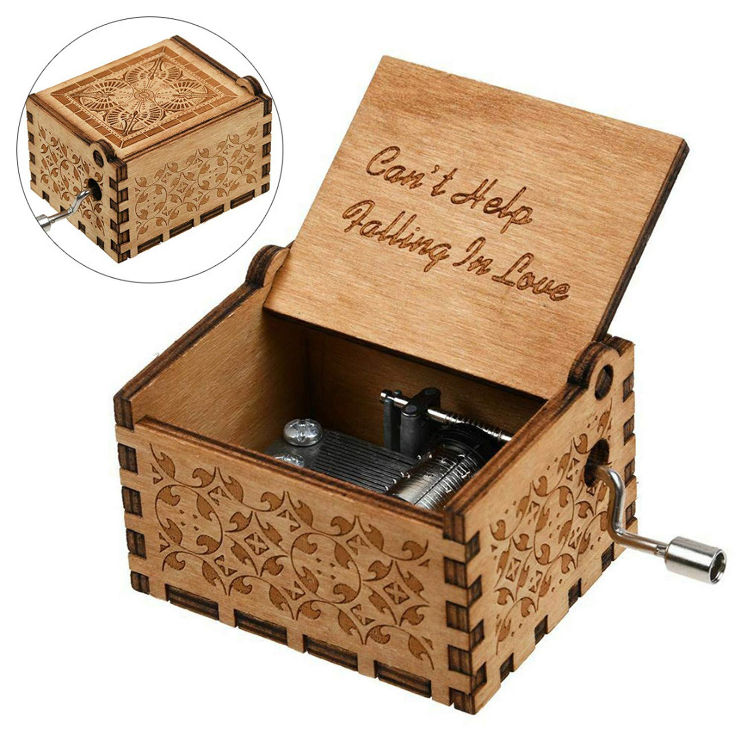 Huntmic Cant Help Falling in Love Wood Music Box Antique Engraved Musical Boxes Case for Birthday Present Kid Toys Hand-Operated