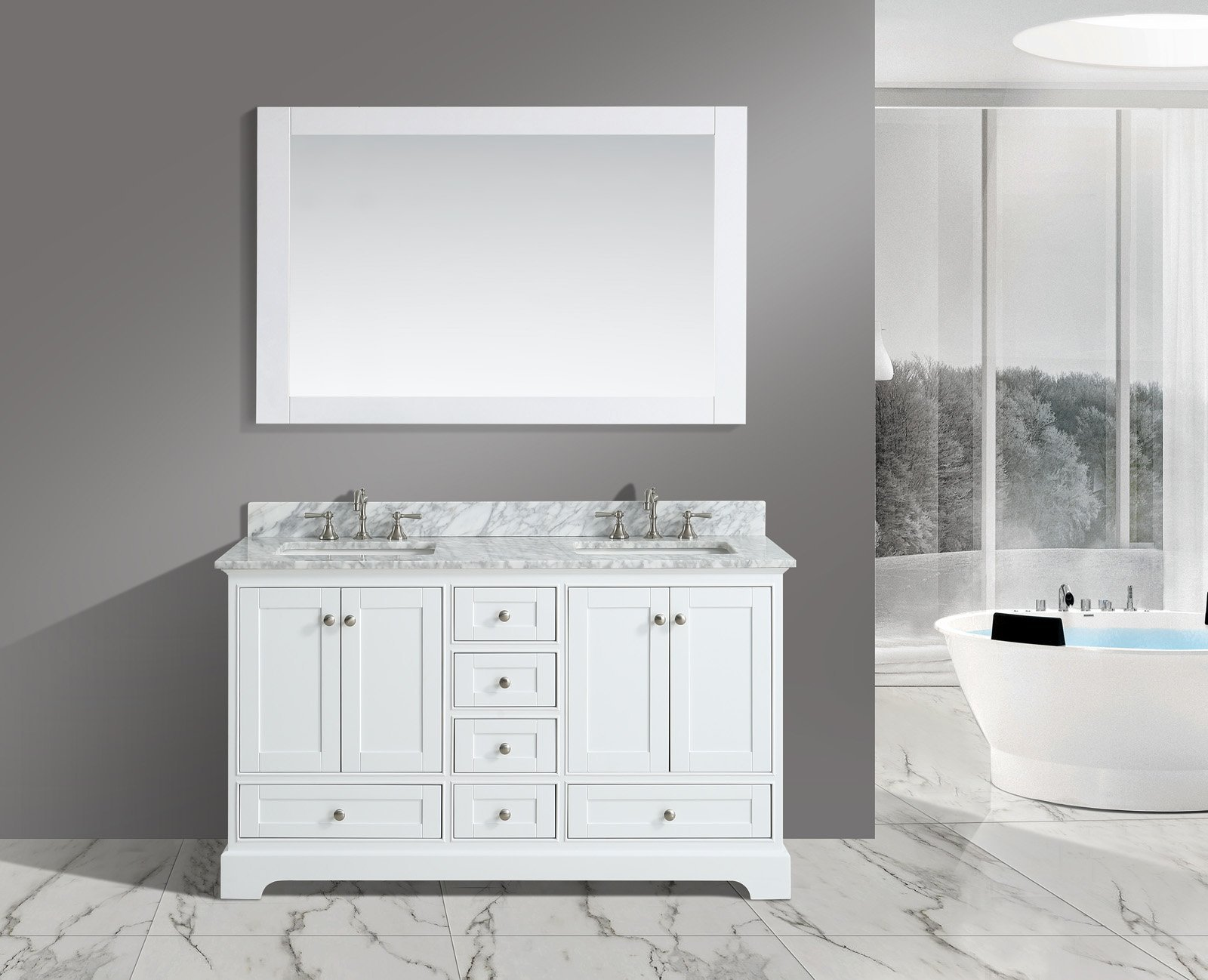 UrbanFurnishing.net - Jocelyn 60-Inch (60'') Bathroom Sink Vanity Set with White Italian Carrara Marble Top - White